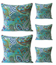 "16""  Cotton Handmade Kantha Paisley Pillow Cushion Cover Throw Dorm INDIAN 5 Pcs"
