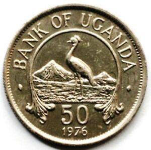 Uganda 50 cents 1976 Crane XF-UNC (#3622)