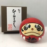 "Usaburo Japanese Kokeshi Wooden Doll 2""H Red Daruma Fuku Happiness Made in Japan"