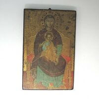 Ältere Ikone Holzikone Wandbild ca. 23,5 x 15 x 1,5 cm