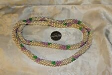 VINTAGE HAND CRAFTED FAUX PEARL WITH LAVENDAR FLOWER BEAD ROPE NECKLACE GORGEOUS