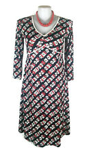 LEONA EDMISTON Ruby Dress - Geometric Print Black Red White 3/4 Vintage - Sz2/14