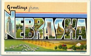 NEBRASKA Large Letter Postcard Farm Scene Background Curteich Linen 9A-H1250