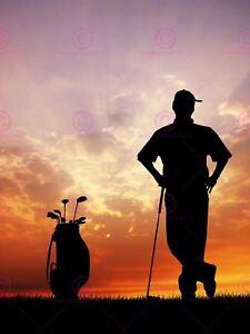 Sport Mock Photograph Golf Golfer Silhouette Sunset Canvas Art Print