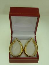 BEAUTIFUL NEW  HEAVY 14K SOLID GOLD WIDE HOOP EARRINGS!  ELEGANT..