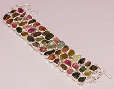 PR167 NATURAL TOURMALINE 925 STERLING SILVER PLATED BRACELET 50 % OFF