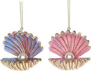 Gisela Graham Set 2 Golden Shells with Pearl Hanging Christmas Decoration 16741