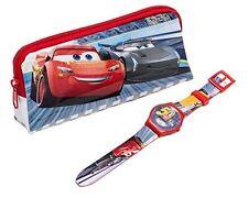 Disney Cars 3 Saetta McQueen LCD Orologio Da Polso & Astuccio Set - Blu / Rosso
