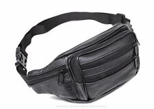 New Men's Women's real leather black Waist Pack /wallet /backpack /Bag