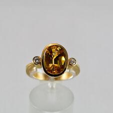 Safir Goldring Gelbgold 750 Ring Größe 62,5 Saphir Brillant Handarbeit