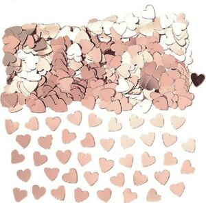 Rose Gold Hearts Table Confetti Birthday Wedding Party Decoration Partyware