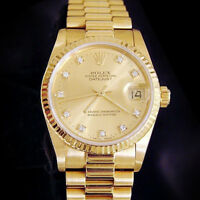 Midsize Rolex Datejust President 18K Yellow Gold Watch FACTORY DIAMOND 68278