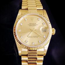 Среднего размера Rolex Datejust президента 18K желтое золото часовой завод алмаз 68278