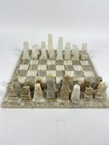 """VTG Marble Aztec Chess Set Board Stone Carved Pieces White & Brown 13.5""""x13.5"""""""