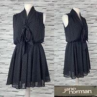 JANE NORMAN Black Spot Skater Dress Sleeveless Size 12 Smart Occasion