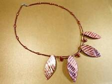 Shell necklace - Red shell & glass bugle beads - 47cm - FREE UK P&P.......HM0566