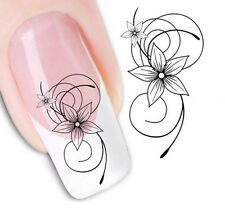 Nail Art Sticker Water Decals Transfer Stickers Black Flower (XF1443)
