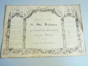 Unicum: Poem Drawings 1886 for Dr.Otto Beckmann IN Trostjanez (Ukraine)