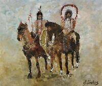 ANDRE DLUHOS ORIGINAL OIL PAINTING Indian Native American History Horses Western