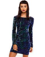 MOTEL ROCKS DELUXE Gabby Sequin Dress in Iridescent Green (mr80.7)
