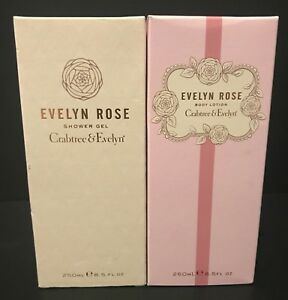 CRABTREE & EVELYN EVELYN ROSE SHOWER GEL & BODY LOTION LOT 8.5 OZ. NEW IN BOX