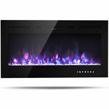 """40"""" Wall Mounted Recessed Electric Fireplace Decor 750W/1500W Multicolor Flame"""