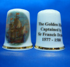 Birchcroft Thimble --  The Golden Hind - Sir Francis Drake with Free Dome Box