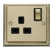 Georgian Brass Switched Plug Socket Home Electrical Fittings