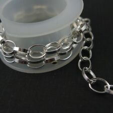 Sterling Silver Bulk Chain- 3 ft - Silver Chain Chunky Cable Oval Rolo Chain-7mm