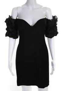 Ronny Kobo Womens Ruffled Puff Sleeve Mini Sweetheart Dress Black Size S LL19LL