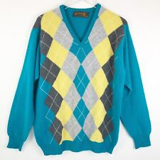 Lyle & Scott Mens Sweater Size 46 Super Lambswool Knit Argyle Multicolor