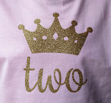"""Gold Glitter Vinyl Iron On Crown and """"two"""""""