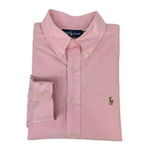 Ralph Lauren Mens Button Down Shirt Oxford 16 1/2 34 Yarmouth Pink Long Sleeve