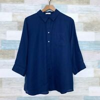 Chicos Pure Linen No Iron Shirt Blue 3/4 Sleeve Lagenlook Relaxed Womens Large 2