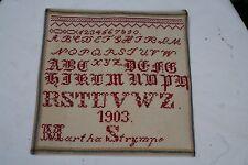 antikes STICKMUSTERTUCH - ABC Tuch mit Monogramm *Martha Strympe* - von 1903