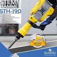 BAMATO Abbruchhammer STH-190 mit Zubehörset 60 Joule Stemmhammer Schlaghammer
