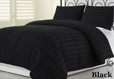 All Season Down Alternative Comforter Egyptian Cotton Twin Size Black Striped