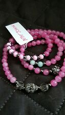Betsey Johnson Heart Charm Convertible Necklace & Bracelet  - Pink beads NWT