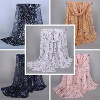 Femme mode foulards musique note impression dames Soft mousseline infiniécha FE