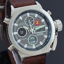 Zeiger New Fashion Business Mens Brown Leather Sport Quartz Wrist Watch Casual