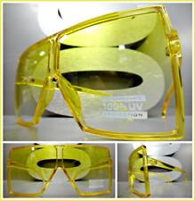 OVERSIZE VINTAGE RETRO SHIELD Style SUN GLASSES Large Square Yellow Frame & Lens