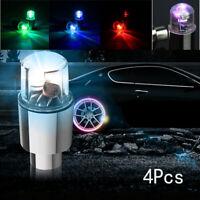 4pcs Valve Stem Car Wheel Tyre Tire Air LED Light Caps Dust Cover Accessories