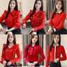 Women Lady Long Sleeve Business Formal Work Career Button Down Shirt Tops Blouse