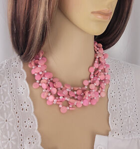 """Pink Faux Pearl Wood Disc Necklace Beaded 5 Strand 18"""""""