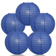 "(5-PACK) 8"" Dark Blue Round Paper Lantern, Even Ribbing, Hanging Decoration"