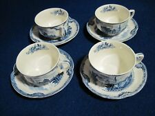 4 sets Johnson Bros England Old Britain Castles flat cup/saucer - Excellent!