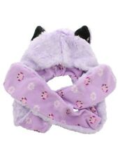 Animal Hat With Paws - Lilac Wolf With Cute Owl Lining Pink Faux Fur