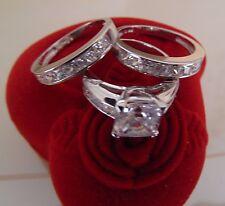 3.50ct Princess cut14K White Gold Man Made diamond Engagement Ring 3 piece size5