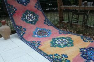 "21x3 Extra Long Vintage Handmade Turkish Runner Rug Carpet 252""x40"", 640x100cm"