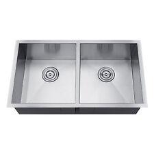 "Z202 - 30"" x 16"" Double Bowl Stainless Steel Zero Radius Undermount Kitchen Sink"